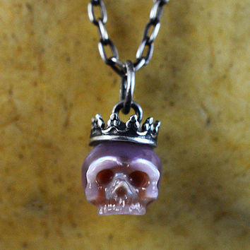 READY TO SHIP - Hand Carved Pearl Skull Wearing Sterling Silver Crown Necklace - Purple Pearl Necklace - Skull Jewelry - Skull Necklace