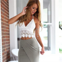 2016 crop top cropped crochet bikini small lace sex vest Hanging Halter V Neck Corset Backless Bodycon Women's Tank Top
