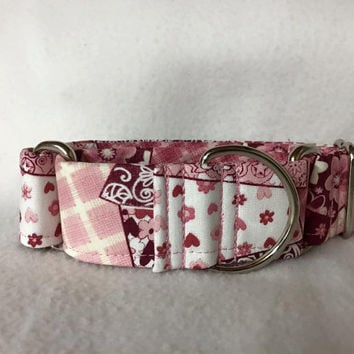 "Collage Burgundy Martingale or Quick Release Collar 5/8"" Quick Release 3/4"" 1"" Martingale Collar, 1.5"" Martingale 2"" Patchwork"