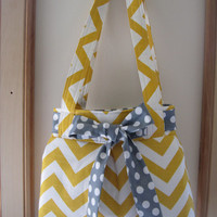 Chevron Shoulder Pleated Handbag, Purse Ipad Netbook Tote  in Yellow and White Made in USA