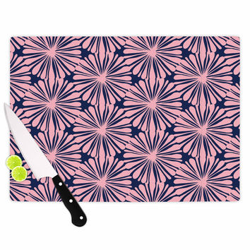 "Amy Reber ""Pink Daisy"" Blue Pattern Cutting Board"
