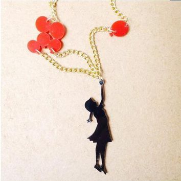 Personality Cute Gold Color Girls playing balloons acrylic pendant necklace lovely fashion long statement necklace jewellery