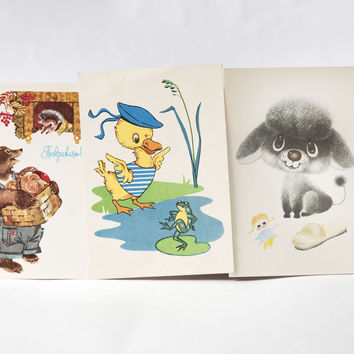 Vintage kids B-day greetings postcard, set 3 blank Birthday cards Duck and Frog, Bear and Hedgehog, Dog and Girl, USSR postcards paper ware