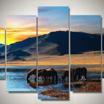 Drink By The Lake Horses 5-Piece Wall Art Canvas