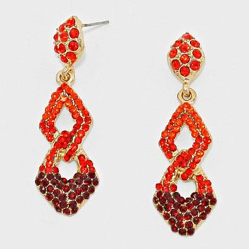 Ombre Crystal Rhinestone Evening Earrings