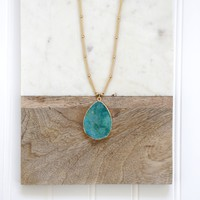 Teardrop Stone On Gold Necklace, Turquoise