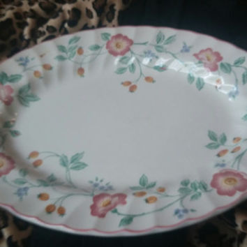 "Lovely Fine English Tableware Churchill Briar Rose Oval Meat Platter Tray 12"" Made in Staffordshire  England"