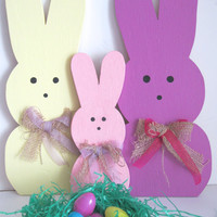 Small Easter Bunny Handpainted Wood Holiday Decor with Burlap Bows Custom Colors