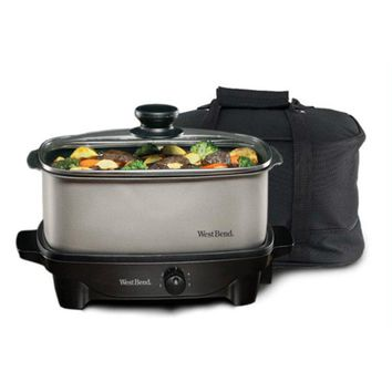 West Bend® 84915 Oblong Slow Cooker with Tote, 210 Watts, 5 Qt