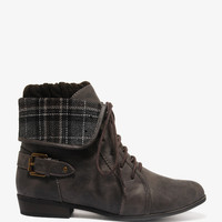 Plaid Lined Lace-Up Boots