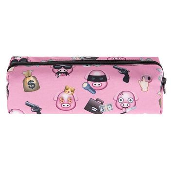 Pig Gang Emoji Pink Travel Cosmetic Makeup Bag