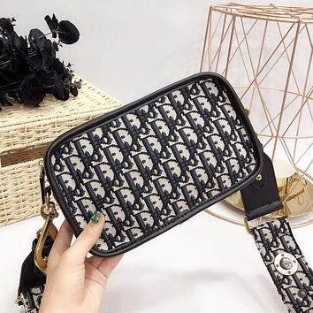DIOR New Women Fashion High Quality More Letter Shoulder Bag Black
