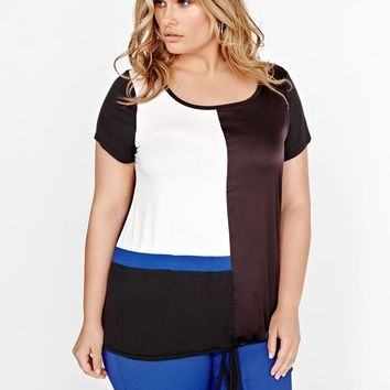 Michel Studio Short Sleeve Color Block Blouse | Addition Elle