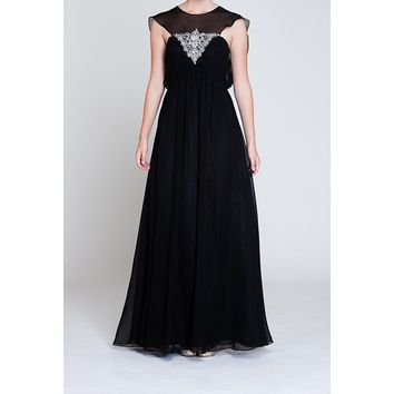 Caped Black Chiffon Evening Gown