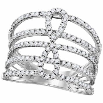 18kt White Gold Women's Round Diamond Infinity Strand Open Band 3-4 Cttw - FREE Shipping (US/CAN)