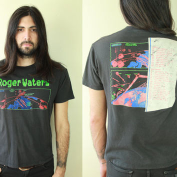 Vintage - 80s - Black Cotton - Roger Waters - Rock - Radio Chaos Tour - Souvenir - Tee - T Shirt - Pink Floyd