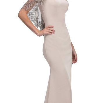 Beige Long Formal Dress with Sheer Embellished Fixed Shawl