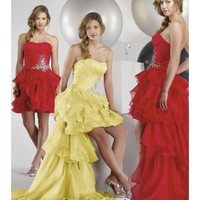 Beautiful Cheap Organza Strapless A-Line Party Dress With Shirring Along Appliquéd Waist LP80042