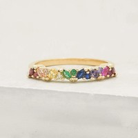 Marquise Eternity Ring - Gold + Rainbow