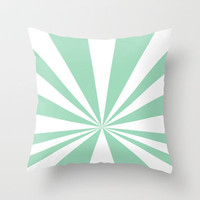 Mint Starburst Throw Pillow by Project M
