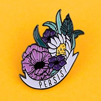 Persist Floral Feminist Enamel Pin