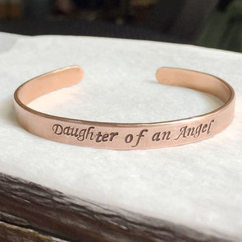 Daughter of an angel bracelet, Personalized bracelet, rose gold bracelet, Mom daughter bracelet, dad's love to daughter, mom daughter Gift