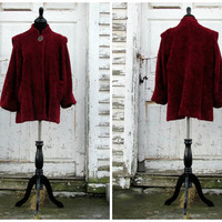 Glamorous Valentine's Day Coat/ Hollywood Starlet/ Deep Red / 1950s Swing Coat/ Short Standing Collar/ 50s Coat/ 50's Outerwear Winter Coat/