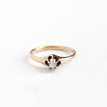 Antique 14k Rosy Yellow Gold Old European 1/10 Carat Diamond Ring - Vintage Size 7 3/4 Belcher Solitaire Engagement Promise Fine Jewelry
