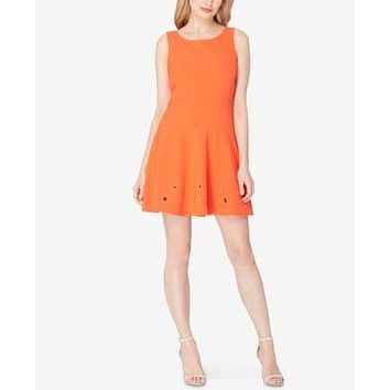$128 New TAHARI ASL Women's Fit & Flare Tangerine Grommet Tunic Dress Size 10