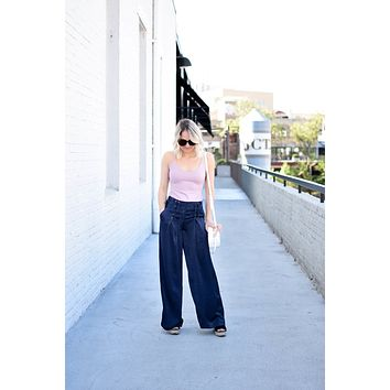 Blue Lace Up Palazzo Pants