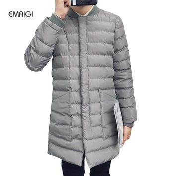 Men parkas winter long warm thicken jacket male cotton padded stand collar baseball slim fit fashion casual coat W135