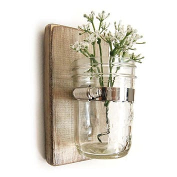Wall vase - cottage chic - wood with mason jar - Metallic Taupe