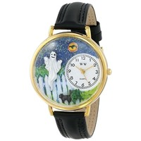 SheilaShrubs.com: Unisex Halloween Ghost Black Skin Leather Watch G-1220032 by Whimsical Watches: Watches