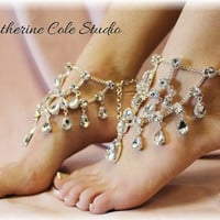 Crystal Barefoot Sandals 1 pr. New look to make any pair of Heels extra special, weddings,bridal, prom, parties, special occasions  SJ5