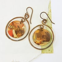 Cat Earrings - Recycled Tin Metal Copper Hoop Picture Pet Lovers Jewelry