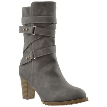 Womens Strappy Mid Calf Boots Gray