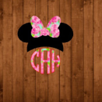 Minnie Mouse Lilly Pulitzer Monogram Decal For Yeti Tumblers, Cars, and Tech Devices