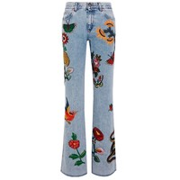 Indie Designs Gucci Inspired Appliquéd Mid-rise Flared Jeans