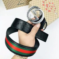 GUCCI  Fashion New Stripe Leather Women Men Leather Belt Black