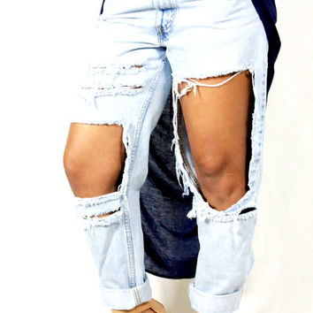 "Boyfriend ripped cut out distressed ""Modern 90s"" denim jeans"
