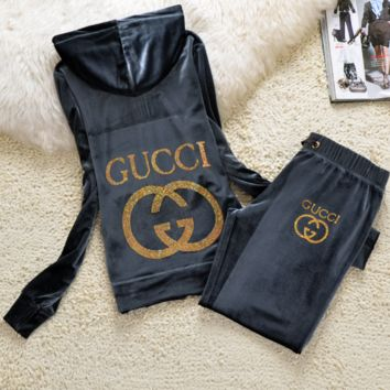 Gucci New pleuche velvet casual wear tracksuit cultivate one's morality Grey