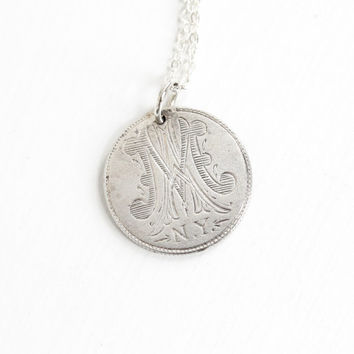 "Antique Silver Monogrammed ""MA - N.Y."" Love Token Coin Pendant Necklace - Victorian 1878 Seated Liberty Dime Coin Charm Initial Jewelry"