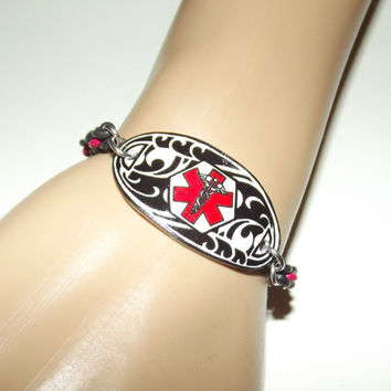 Double Sided Custom Medical Alert Stretch Bracelet