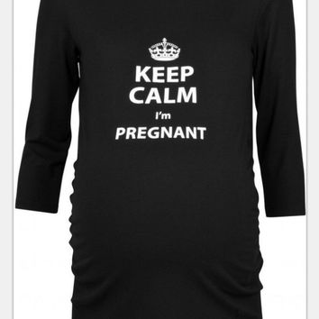 Casual Pregnant Stylish Round-neck Three-quarter Sleeve Alphabet T-shirts [2070458040374]