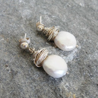 Pearl Jewelry - White Creamy Coin Pearl Earring - Wrapped Silver - Gift Ideas - Bridal & Everyday Jewelry - Fresh Water Pearl