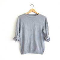 vintage thin gray sweater. minimalist sweater. super soft sweater