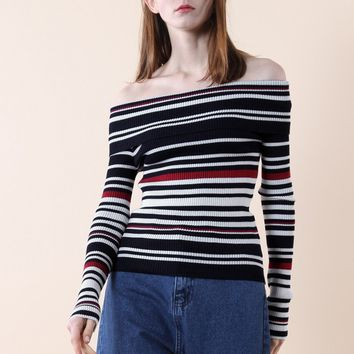 Whimsy Stripes Off-shoulder Knit Top in Navy