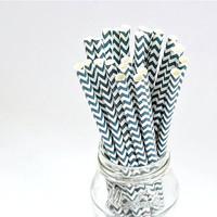 Paper Straw Chevron - Navy Blue x 25