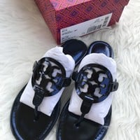 Tory Burch Miller Sandals Thong Flip Flop Mirror Metallic Blue 7.5