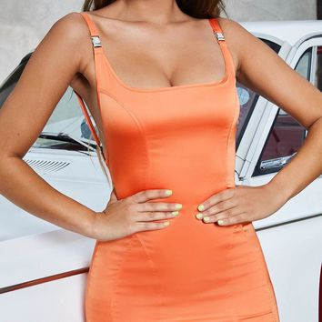 Solid color tube top sexy halter metal strap dress